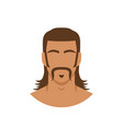 face man with mustache and mullet hairstyle vector image vector image