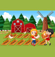 farmers in farm scene vector image