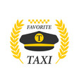 favorite taxi logotype with black drivers cap and vector image vector image
