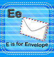 flashcard letter e is for envelope vector image vector image