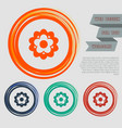 flower icon on red blue green orange buttons vector image vector image
