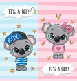 greeting card with cute koalas boy and girl vector image