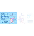 happy birthday wishes postcard holiday card with vector image vector image