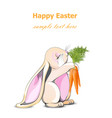 happy easter bunny card cute rabbit vector image