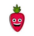 happy strawberry cartoon character emote vector image