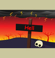 hell landscape with signpost skull and strom vector image vector image