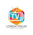 letter tv logo design vector image vector image