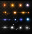 light and stars shine lens flare sun beams glowing vector image