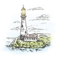 lighthouse on island with rocks sketch vector image vector image