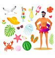 man with lifebuoy summer vacation elements icon vector image vector image