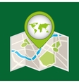map pin green world icon vector image