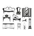monochrome of vintage furniture for vector image