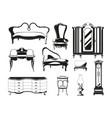 monochrome vintage furniture vector image