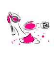 outline of high heel classic summer shoes with vector image