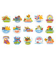 playground labels aqua water park summer vector image