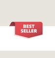 red top tag ribbon with shadow best seller vector image vector image