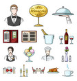 restaurant and bar cartoon icons in set collection vector image vector image