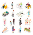 rich people and rich life isometric icons vector image vector image