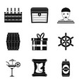 saloon icons set simple style vector image vector image