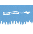 santa claus on a plane with a ribbon winter vector image