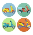 Scooter icon flat set vector image