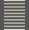 seamless set nine different road marking top vector image