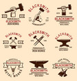 set blacksmith and iron works emblems design vector image