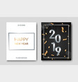 set of 2 happy new year night flyers banner with vector image vector image