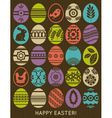 set of colour easter eggs over wooden background vector image vector image