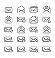 set of email line icons vector image