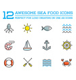 Set of Sea Food Elements and Sea Signs can be used vector image