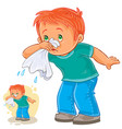 Sick little boy blowing his nose in a handkerchief vector image