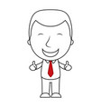 smiling businessman line making thumbs up sign vector image vector image