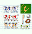 sticker design for baseball players and field vector image