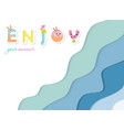 summer paper cut out banner 3d waves layers vector image vector image
