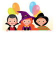 three friends in halloween costumes a festive vector image vector image