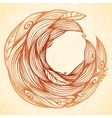 Vintage doodle leaves ornate circle frame vector image