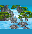 waterfall scene in the forest vector image vector image