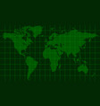 world map earth dark green radar screen matrix vector image vector image