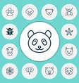 zoo icons set with panda arachnid monkey bear vector image