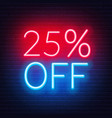 25 percent off neon lettering on brick wall vector image vector image