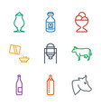 9 milk icons vector image vector image
