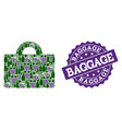 baggage mosaic of wine bottles and grape and vector image