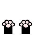 black cat paw print leg foot with pink pads cute vector image vector image