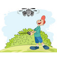 boy playing with a helicopter vector image vector image