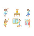 boys and girls doing different housework chores vector image vector image
