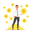 businessman holding bitcoin vector image vector image