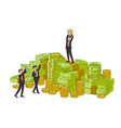 businessman with winner cup standing on money pile vector image vector image