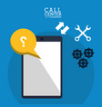 Call center smartphone collaboration help vector image