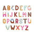 cartoon alphabet cookies font letters vector image vector image